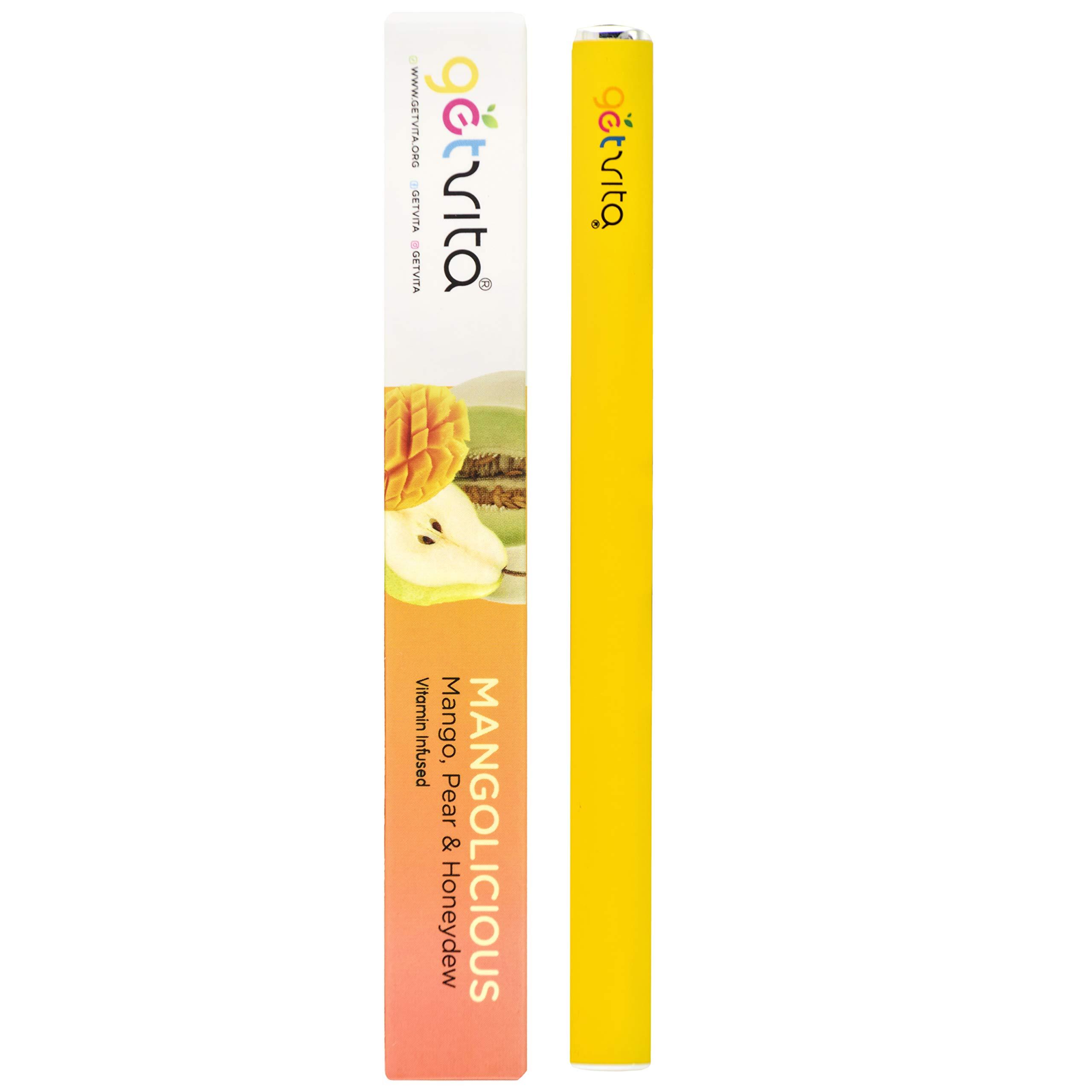 GetVita® (Mangolicious) - America's Organic MultiVitamin Diffuser Inhaler Vaporizer w/Vitamins A C D E B1 B2 B3 B5 B6 B7 B8 B12 B15 - Over 200+ Inhalations - Mango w/Pear & Honeydew Flavor