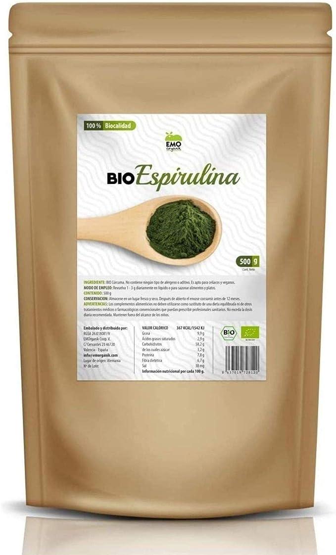 EMO Bio Espirulina Ecológica - 500 gramos - 100% Ecológica - Aumenta tu Energía - Rica en Proteína Vegetal - Rica en Ácidos Grasos - Contiene todos ...