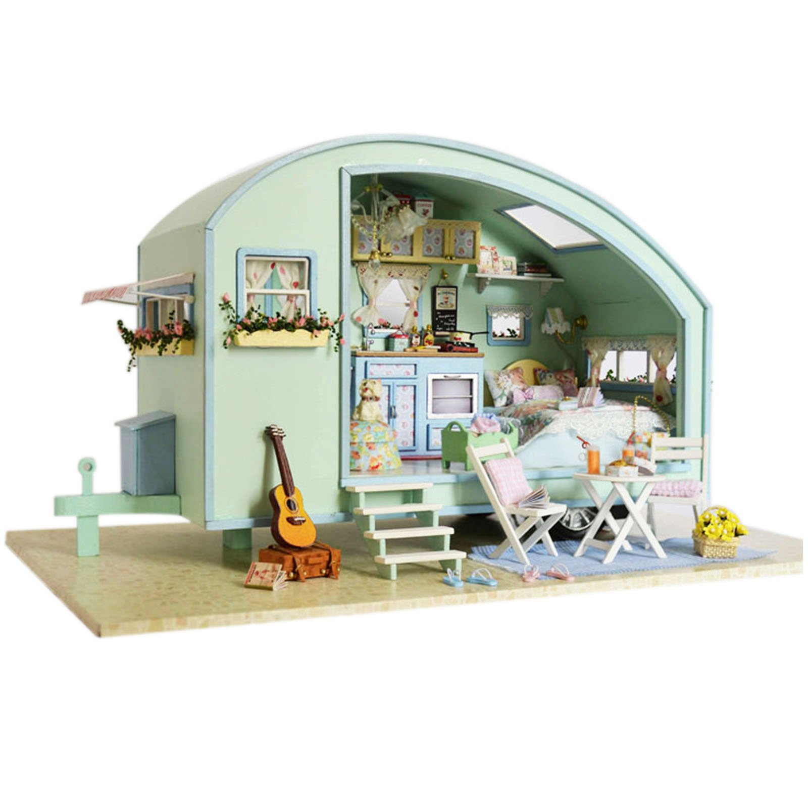 Ogrmar Wooden Dollhouse Miniatures DIY House Kit With Led Light-Time Travel