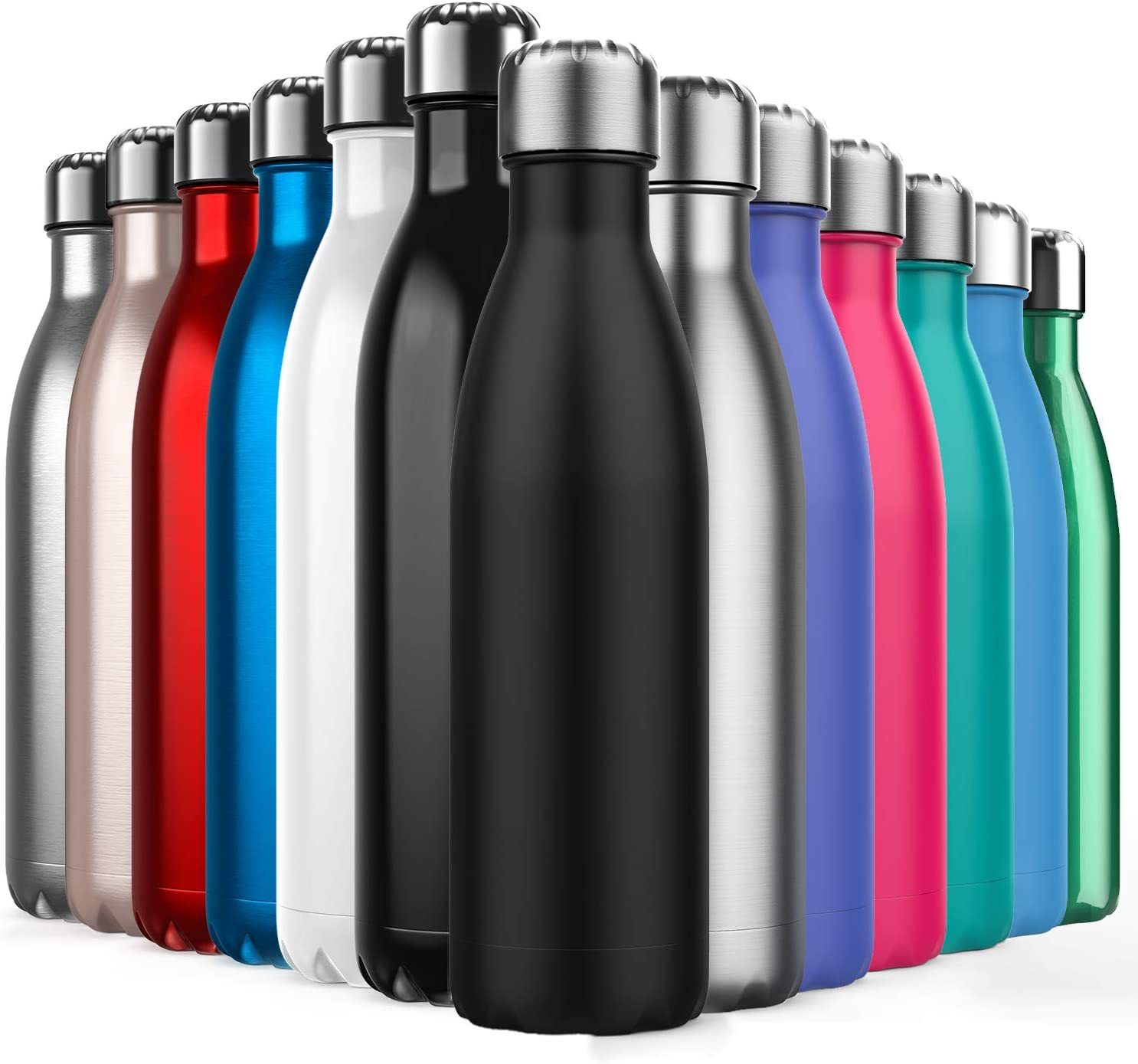 Invool Botella de Agua de Acero Inoxidable,Diseño de Pared Doble,Boca EstáNdar,para Correr,Gimnasio,Yoga,Ciclismo,500ML,Negro