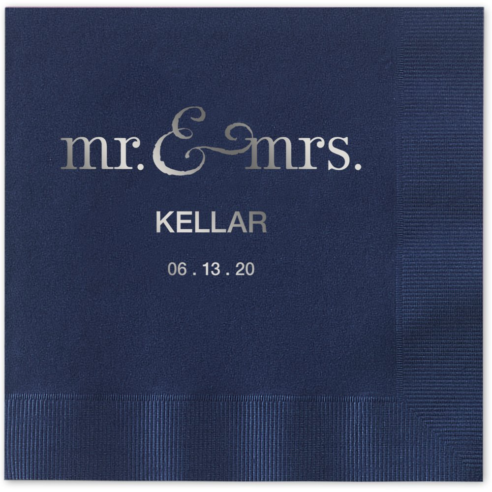 Mr and Mrs Personalized Luncheon Dinner Napkins - Canopy Street - 100 Custom Printed Navy Blue Paper Napkins with choice of foil stamp (5125L)