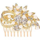 EVER FAITH Women's Austrian Crystal Cream Simulated Pearl Wedding Flower Hair Comb Clear