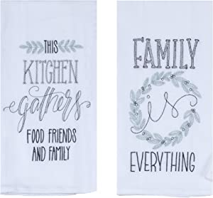 Kay Dee Designs Family Food Friends Farmhouse Flour Sack Towels, Bundle of 2