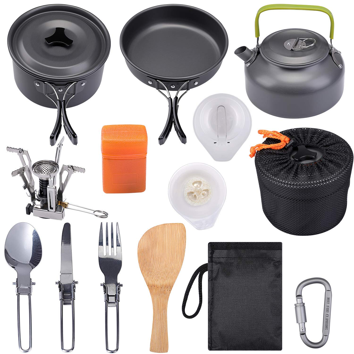 G4Free Camping Cookware Mess Kit, Lightweight Pot Pan Kettle Fork Knife Spoon Kit for Backpacking, Outdoor Camping Hiking and Picnic(15pcs Set) by G4Free