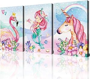 Unicorn Wall Decor Pictures Pink Girls Room Bedroom Bathroom Wall Art Cute Mermaid Flamingo Watercolor Painting Artwork Pink Rainbow Framed Canvas Print Nursery Kids Birthday Gifts 3 Pieces