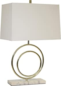 "Sagebrook Home 50115-02 Metal Double Circle Table White Shade, Gold, 28"" Lamps"