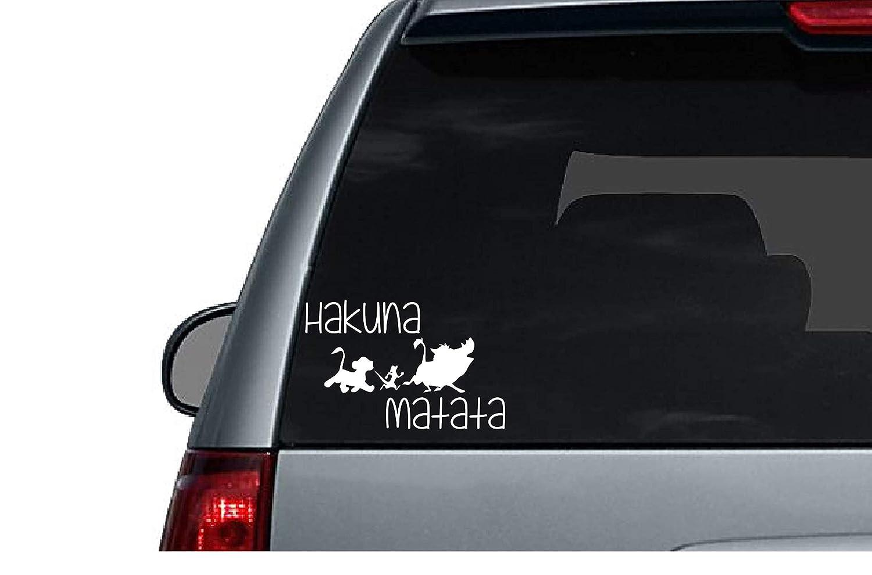 Amazon.com  Hakuna Matata Disney Lion King Simba Pumba Timon Africa Pride  Lands White Car Decal Vinyl Bumper Sticker Automobile Accessory  Automotive 0720deea07