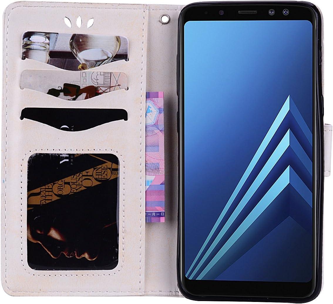 Liebe Herz Rosa Samsung Galaxy A8 2018 Handyh/ülle Glitzer Strass Muster PU Leder mit Handschlaufe Geldb/örse Case Flip Cover Schutzh/ülle Handytasche Hpory Kompatibel mit Galaxy A8 2018 H/ülle