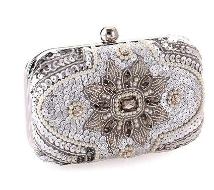 Glitter Women Beaded Clutch Silver Evening Bags With Chains Handbag Wedding  Dress Bag Party Purse Package d7e788c3350b