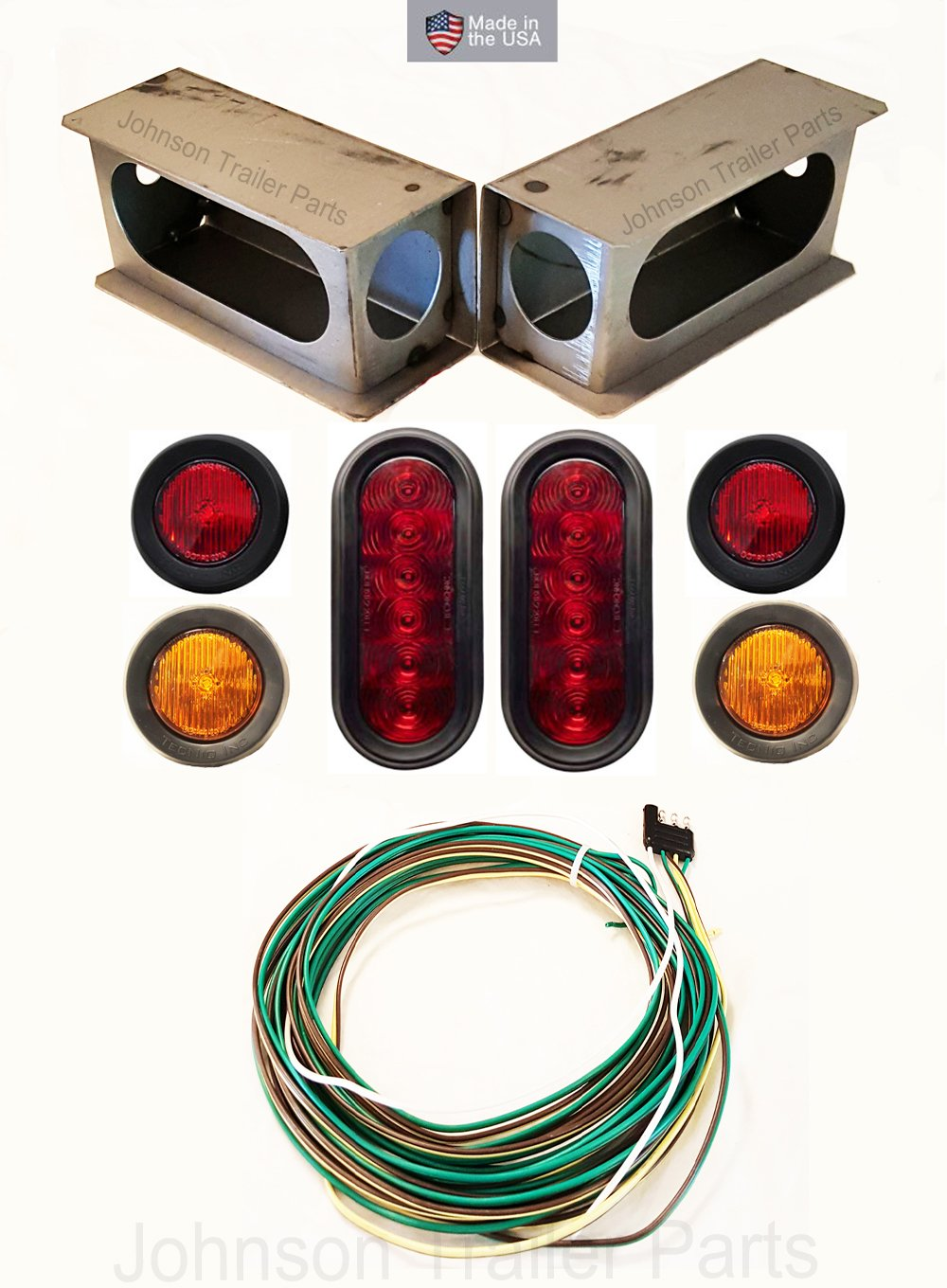 "Amazon.com: LED Light Kit For Trailers Trucks RVs w/Enclosed Steel Box, Wiring  Harness, Sidemarker/Clearance Lights - Stop Turn Tail Lights (Under 80"" ..."