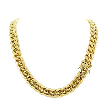 19833647ffe92 Harlembling Men's Miami Cuban Link Chain 14k 18k Yellow Gold White Or Rose  Gold Plated Stainless Steel 8-18mm Thick (18k Yellow Gold 14mm, 22)