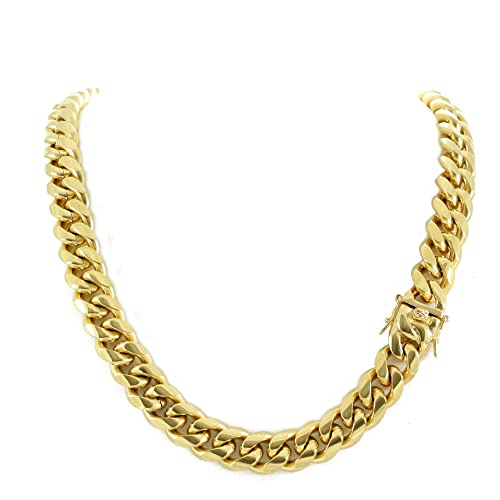 2787bc2f047b8 Harlembling Men's Miami Cuban Link Chain 14k 18k Yellow Gold White Or Rose  Gold Plated Stainless Steel 8-18mm Thick (18k Yellow Gold 14mm, 22)