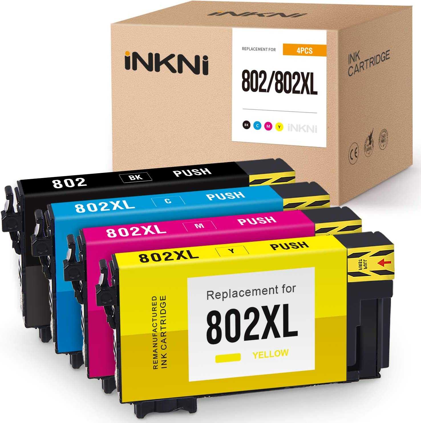 INKNI Remanufactured Ink Cartridge Replacement for Epson 802 802XL T802XL for Workforce Pro WF-4730 WF-4734 WF-4740 WF-4720 EC-4020 EC-4030 EC-4040 Printer Ink (Black, Cyan, Magenta, Yellow, 4-Pack)