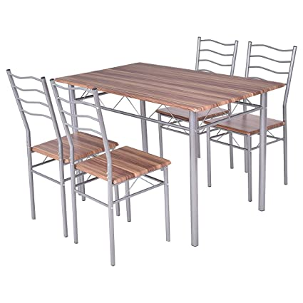 Tangkula 5 Piece Wood Metal Dining Set Kitchen Modern Furniture