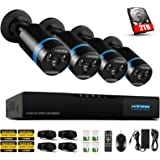H.View Home Security HD 1080P PoE CCTV Camera System HD NVR Security CCTV Camera with 2TB HDD,4PCS 2.0 MP Bullet Cameras, Home Surveillance Night Vision up to 30M