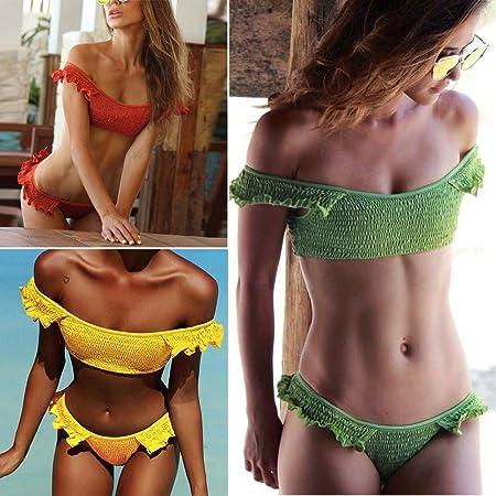 SHOBDW Mujeres Sexy Pliegues Volantes Bikini Conjunto Push-up Rellenado Traje de baño Beachwear