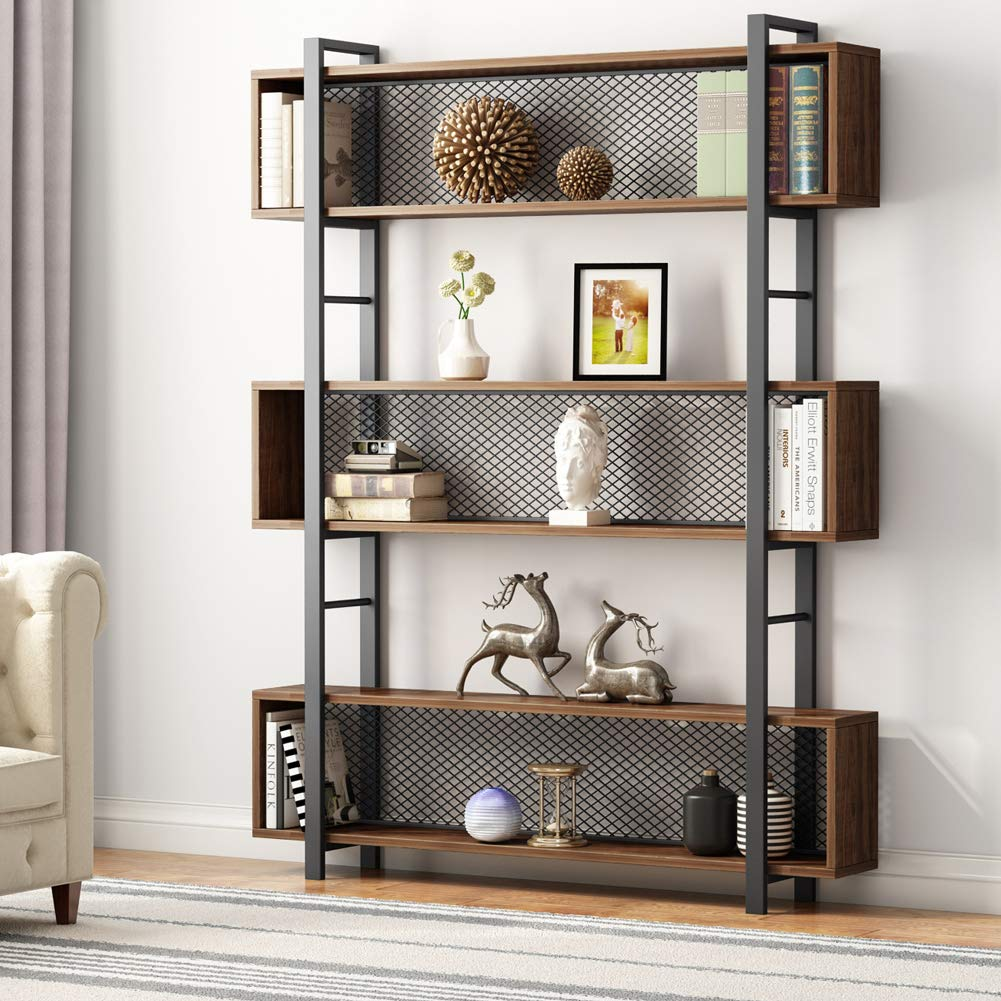 Tribesigns 5-Shelf Bookshelf with Metal Wire, Vintage Industrial Bookcase Display Shelf Storage Organizer with Metal Frame for Home Office, 47.2'' L x 9.4'' D x 71'' H (Retro Brown)