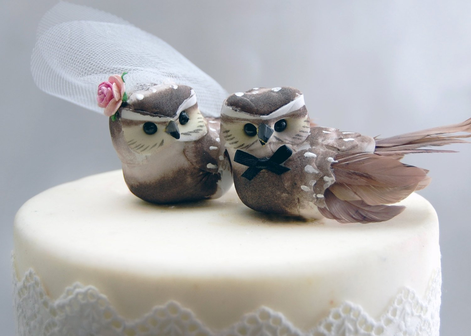 Owl Cake Topper in Cocoa Brown: Woodland''Bride and Groom'' Love Bird Wedding