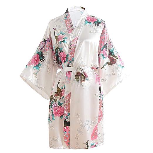 LULUSILK Women s Printing Kimono Robe with Short Sleeve V-Neck ... 5d8c38580