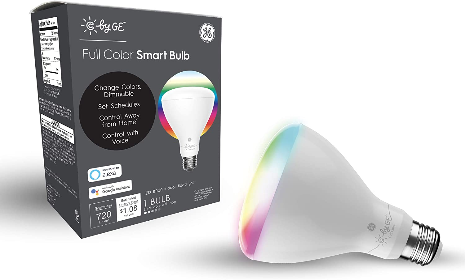 C by GE BR30 Smart Light Bulb - Smart Flood Light Bulb, Full Color Changing Light Bulb, 1-Pack, Smart Light Bulb Works with Alexa and Google Home, Bluetooth Light Bulb, RGB Light Bulb