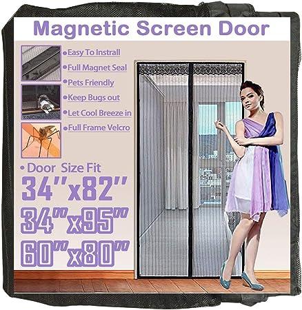 """Magnetic Screen Door Fits Doors Up To 38 x 82/"""" Durable Heavy Duty Easy To Instal"""