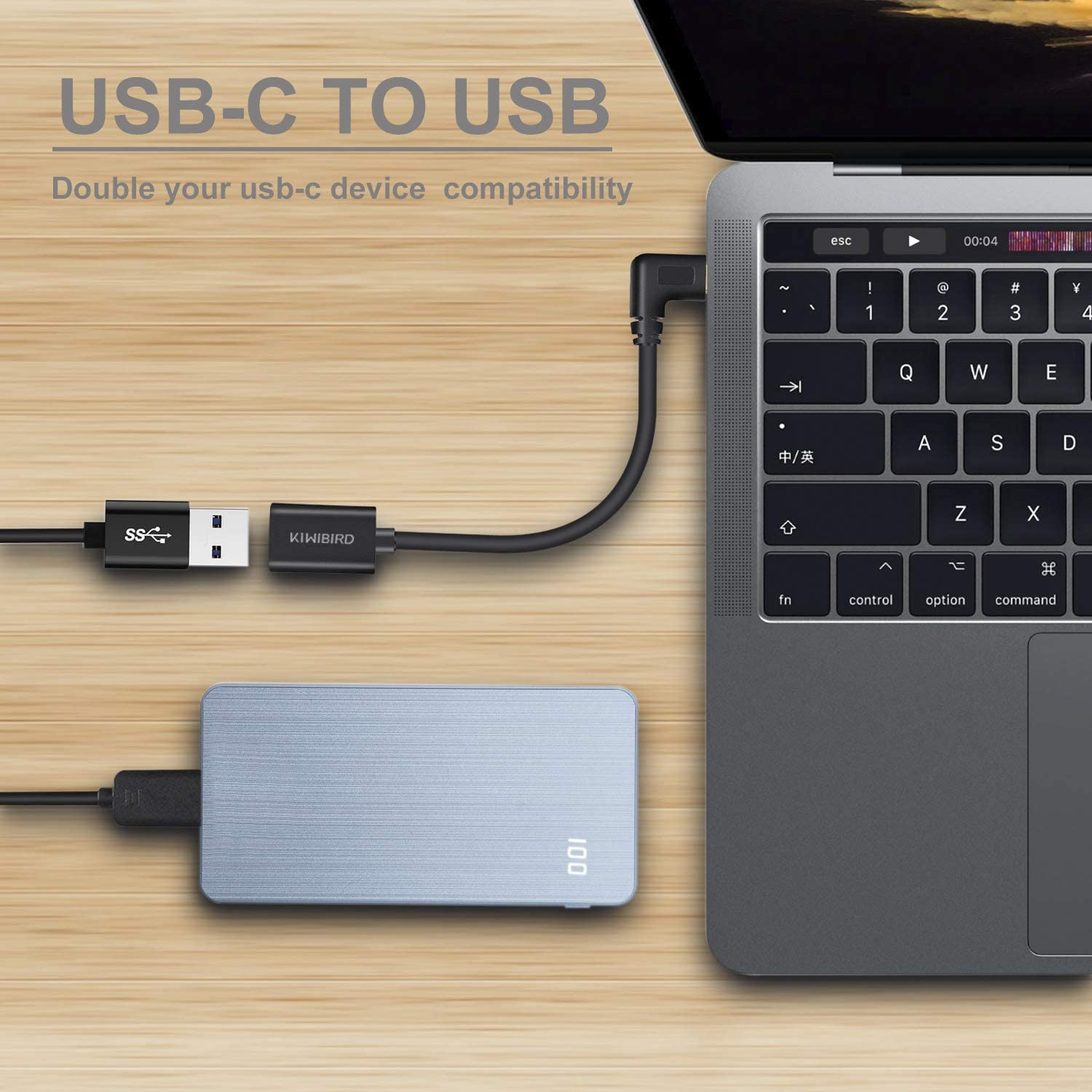 KiWiBiRD 90 Degree USB 3.1 Type C to USB 3.0 A Female Cable Adapter for New MacBook Pro 13//15 Galaxy Note 8//S8// S8+//S9//S9+ Tab S3 Google Pixel XL More Type-C Ready Devices 2 Pack