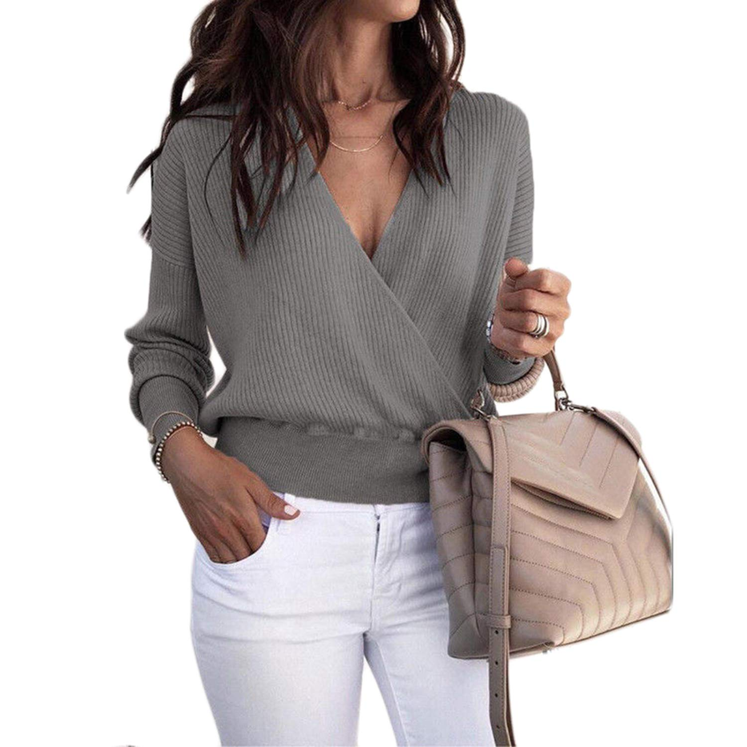 Womens Deep V Neck Long Sleeve Wrap Rib Knit Sweater Pullover Jumper