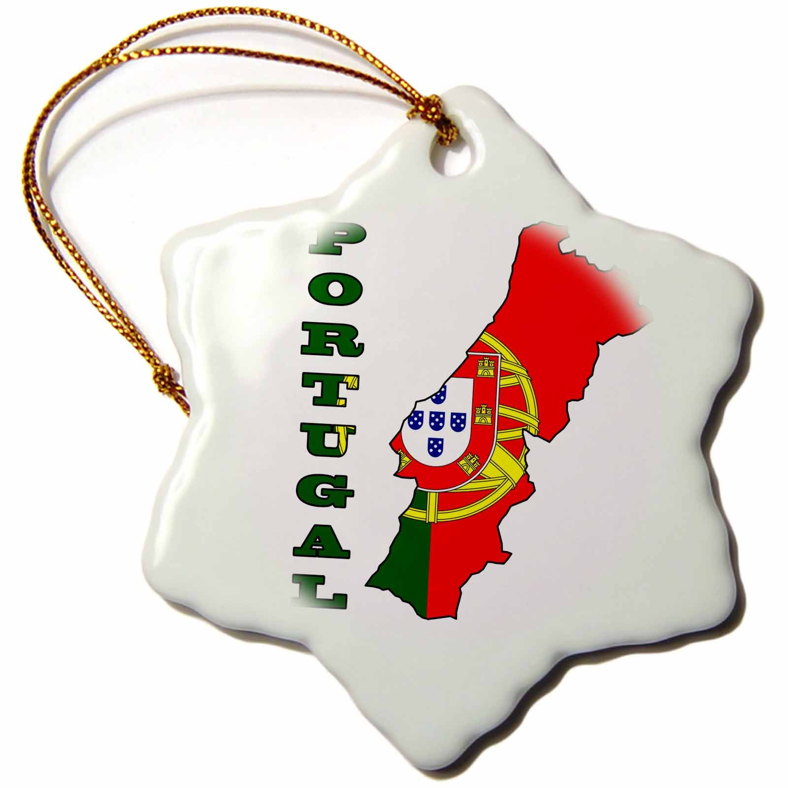 3dRose orn_63193_1 The Flag of Portugal in The Outline Map and Name of The Country, Portugal Snowflake Porcelain Ornament, 3-Inch