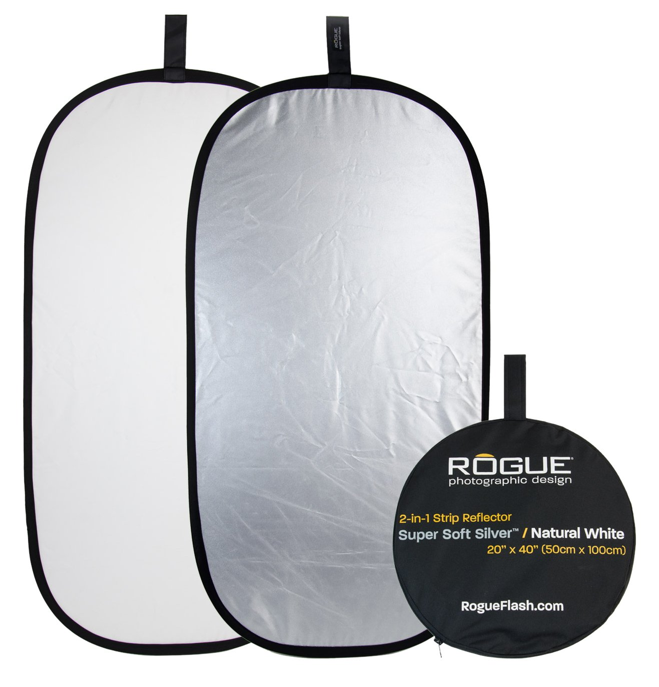 Rogue Photographic Design 2-in-1 Collapsible Reflector 20 x 40, Super Soft Silver/Natural White (ROGUE2040SW) by Rogue Photographic Design