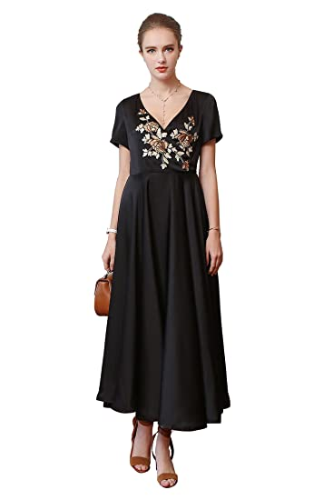 Voa Womens Short Sleeve Black Embroidery Sweetheart Neckline High