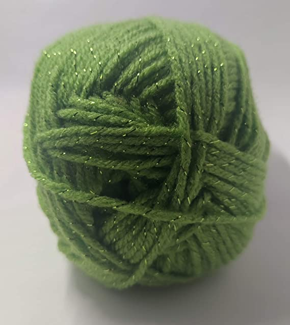 with Great Drape Soft 100 Gram Metallic Chainette Yarn #44513 Ice Spring Green /& Silver DK 213 Yds