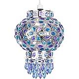 Abat jour. Suspension de style traditionnel bazar marocain. Chromé Lustre Avec belle turquoise, bleu et violet gouttelettes de bijoux acryliques