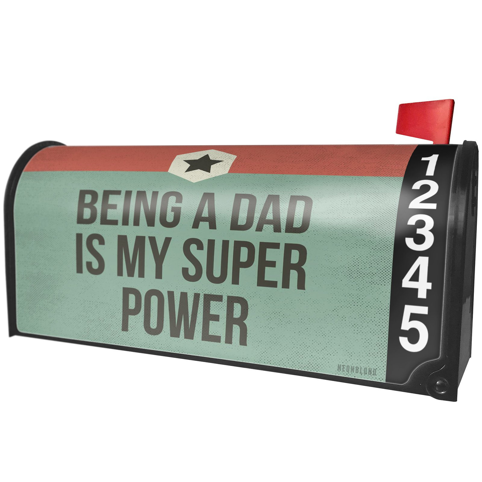 NEONBLOND Being a Dad is My Super Power Father's Day Retro Star Magnetic Mailbox Cover Custom Numbers