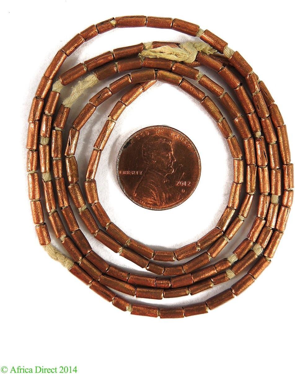 4 Ethiopian Spiral Bead Brass Metal Pig Tail Africa 124297