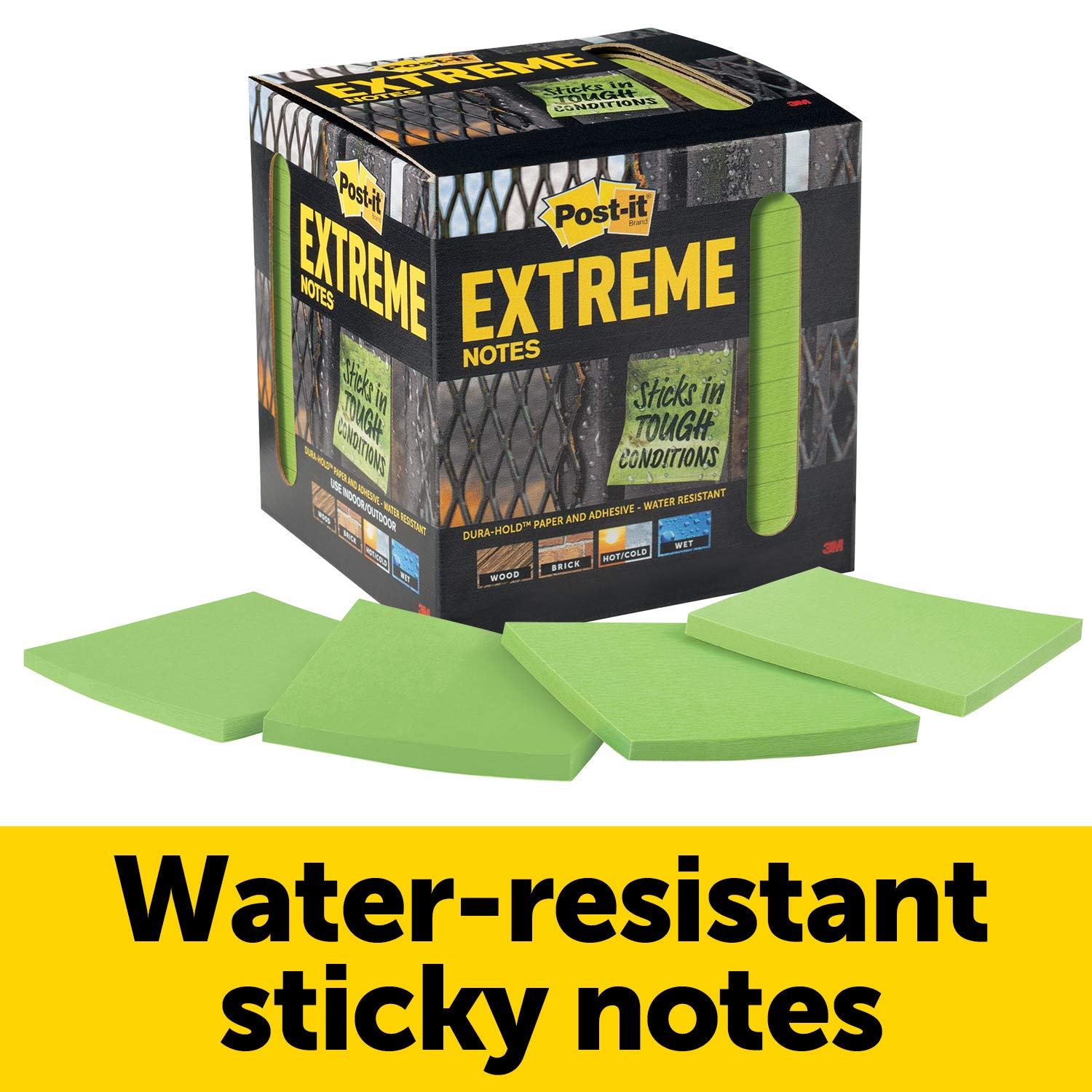 Post-it Extreme Notes, Green, Great for Tough Conditions, Stop the Re-Work, Recyclable Box, 3 in x 3 in, 12 Pads/Pack, 45 Sheets/Pad (EXTRM33-12TRYG)