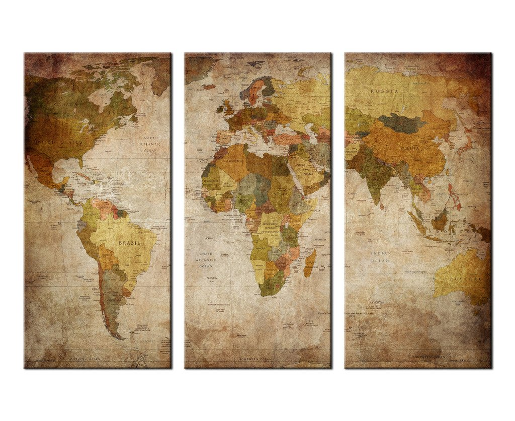 Wall art canvas prints vintage world map picture printing wall art canvas prints vintage world map picture printing framed ready to hang 3 panel large modern giclee art work for home office decoration retor gumiabroncs Image collections