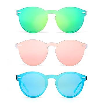 Polarizadas Sin Montura Borde Con Cuerno Gafas de Sol Redondas Espejo Una Pieza Anteojos Para Mujer Hombre 3 Paquete(Verde&Rosa&Azul)