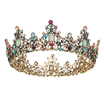 Golden Red Diamonds Crystal Rhinestone Crown Tiara Godlen Corwn Baroque Crown Princess Crown Pageant Crown Bridal Hair Accessories for Women Girls