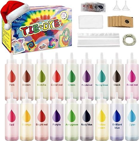 Oukzon Tie Dye Kit 18 Colores, Tinte de Tela Permanente con ...