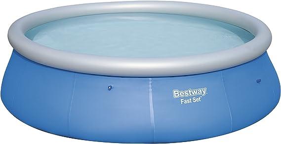 Bestway 57319 - Piscina hinchable Fast Set con anillo hinchable y depuradora, 396 x 84 cm, 7.340 litros, azul: Amazon.es: Jardín