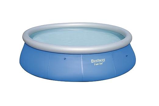 Bestway 57319 - Piscina hinchable Fast Set con anillo hinchable y depuradora, 396 x 84 cm, 7.340 litros, azul