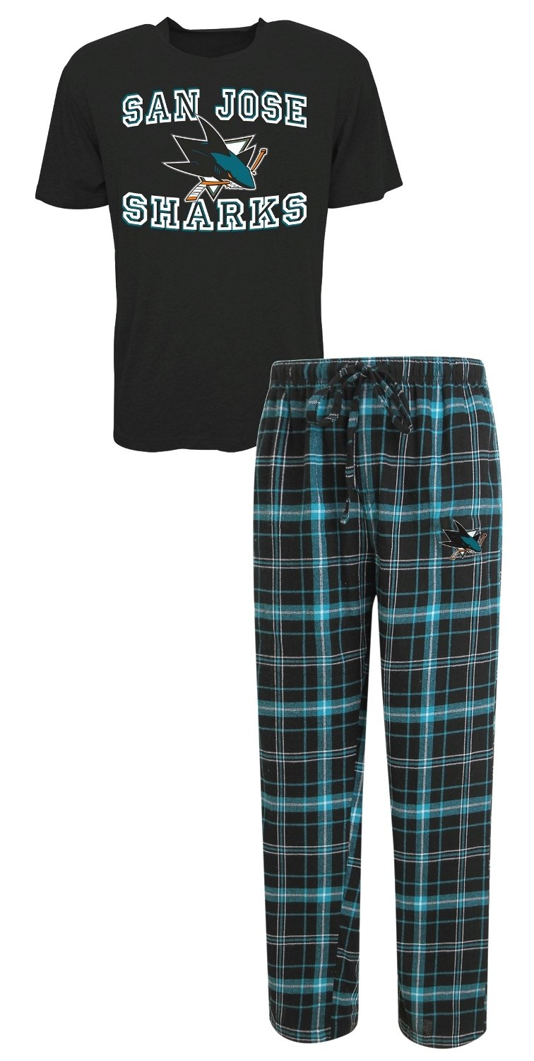 San Jose Sharks NHL Game Time Men's T-shirt & Flannel Pajama Sleep Set Concept Sports