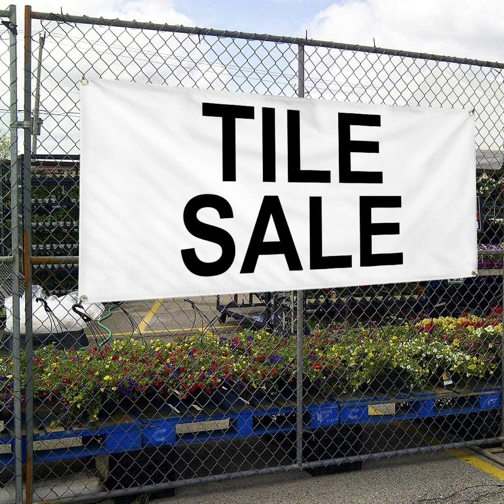 Vinyl Banner Multiple Sizes Tile Sale Black Business Outdoor Weatherproof Industrial Yard Signs 8 Grommets 48x96Inches
