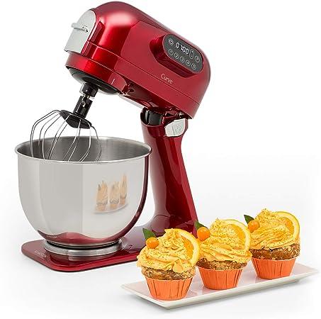 Klarstein Curve Robot de cocina - Mezclador, Pantalla LED, 5 velocidades, Sistema de rotación planetaria, 5 litros, Carcasa metálica, Accesorios, Rojo: Amazon.es: Hogar