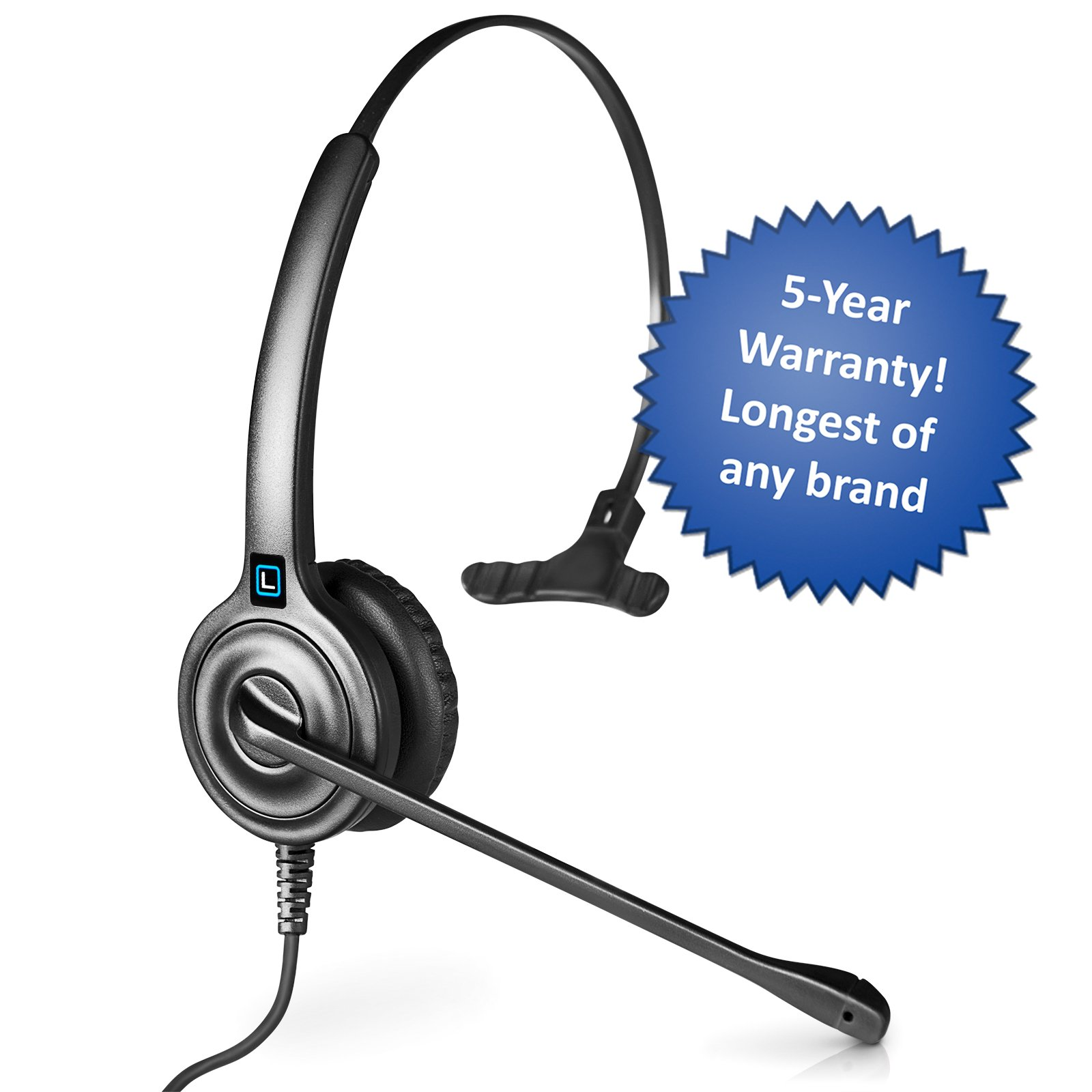 Leitner LH250 Single-Ear USB Computer Headset with In-line Call Control. Works with PC and Mac. Answer and End Skype for Business calls