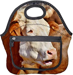Neoprene Lunch Bag Bull Ox Cow Animal Cattle Farm Insulated Picnic Tote Boxes Backpack for Women Men Kids Pocket Style with Zipper