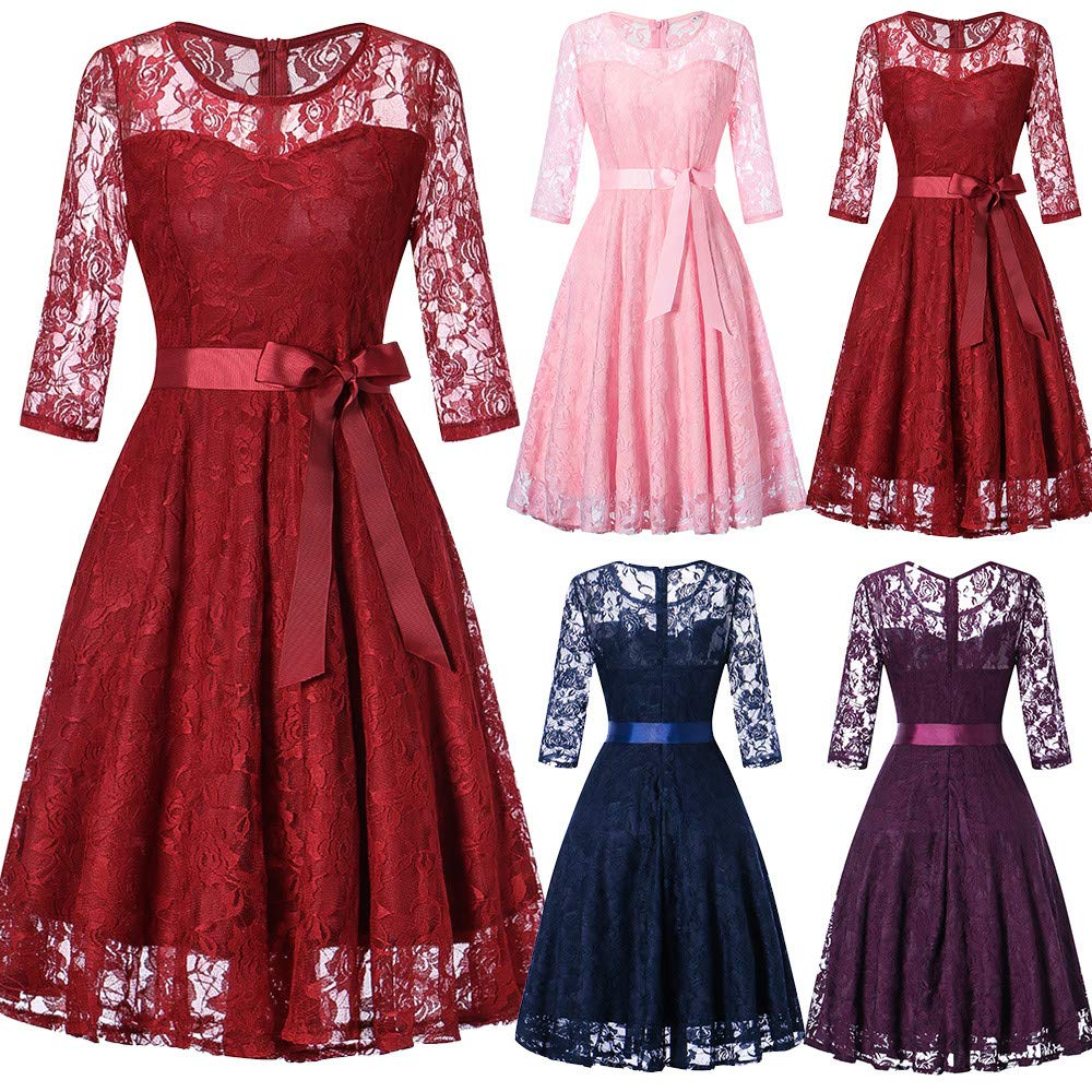 JESPER Womens Long Sleeve Formal Ladies Wedding Bridesmaid Lace Long Dress US 8/10 Blue by JESPER (Image #4)