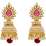 Shining Diva Bollywood Inspired Pearl Polki Stylish Fancy Party Wear Traditional Jhumki / Jhumka Earrings For Girls / Women