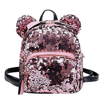 AJOYCN mochila mágica con lentejuelas, pequeña, de moda, con lentejuelas, para llevar al hombro, mochila escolar, mochila de ocio, bolsa de viaje rosa: ...