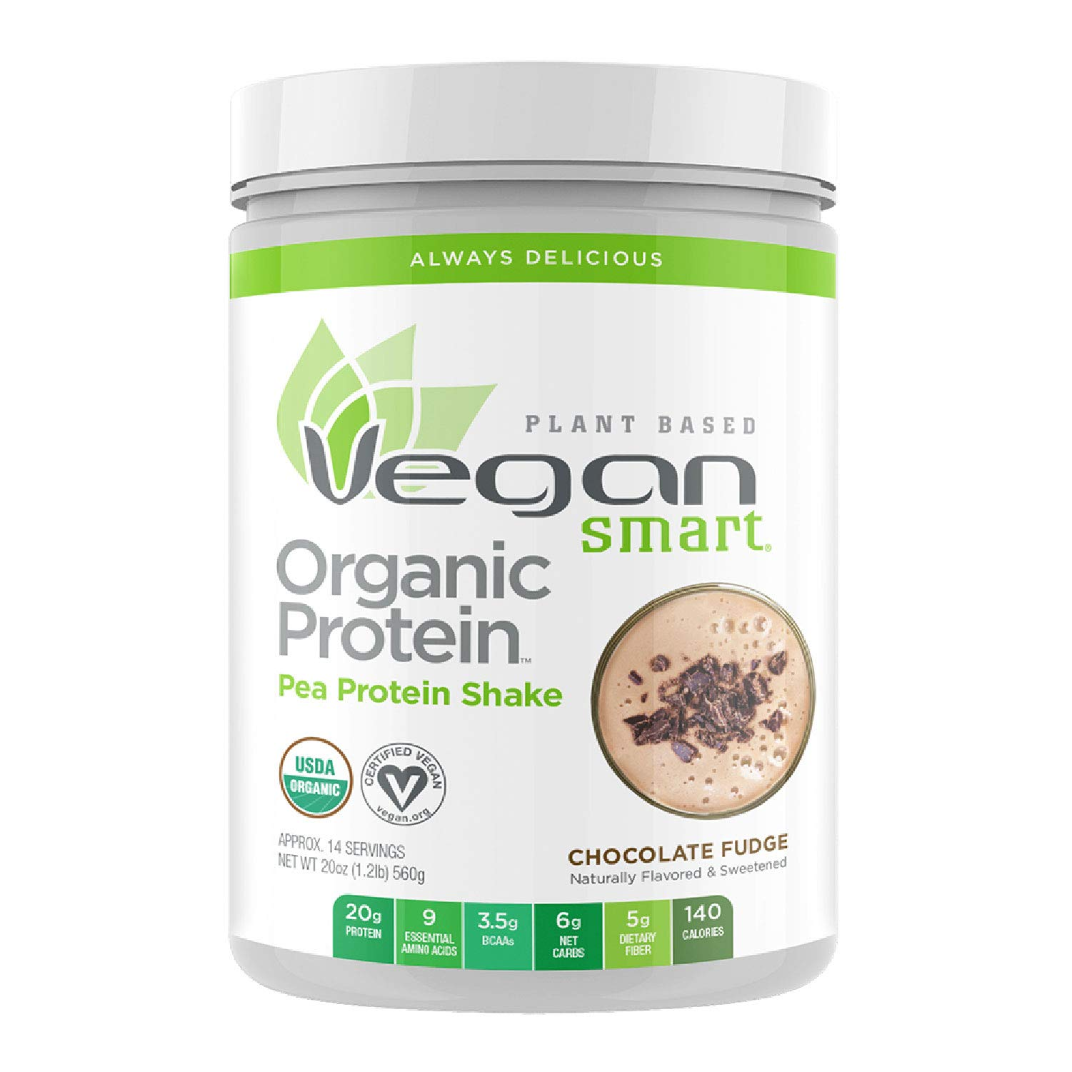 Vegansmart Plant Based Organic Pea Protein Powder by Naturade, 20 Ounce, Chocolate Fudge by Vegansmart